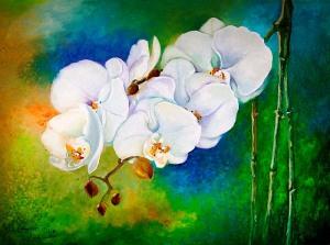 Hoa lan trắng. Tranh sơn dầu trên bố 60cmx80cm by Nguyễn Sơn
